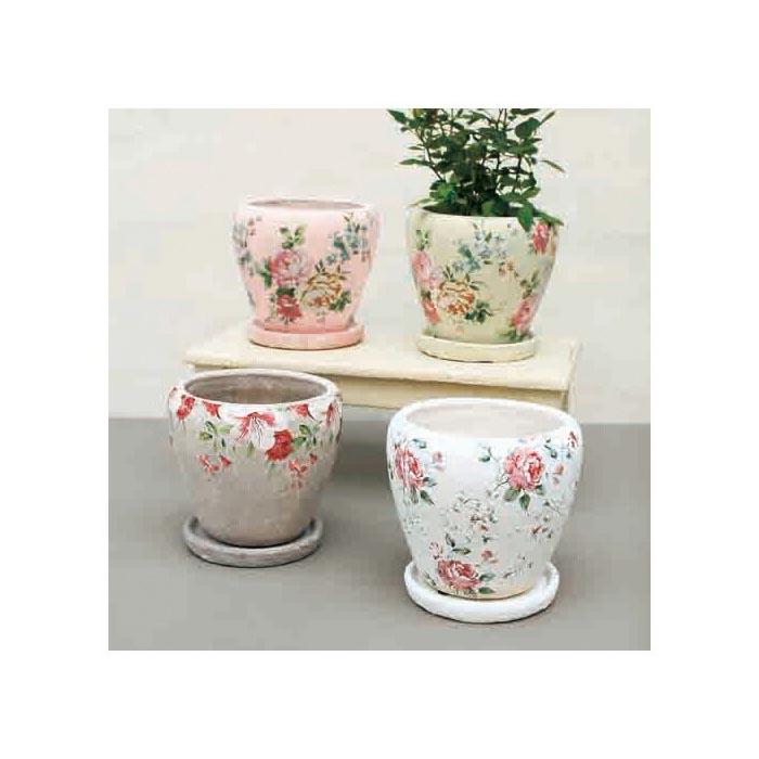 ブライトローズプランターアソート(4色×各1個) 鉢 植木鉢 プランター 花柄 おしゃれ ローズ 薔薇 ガーデンポット
