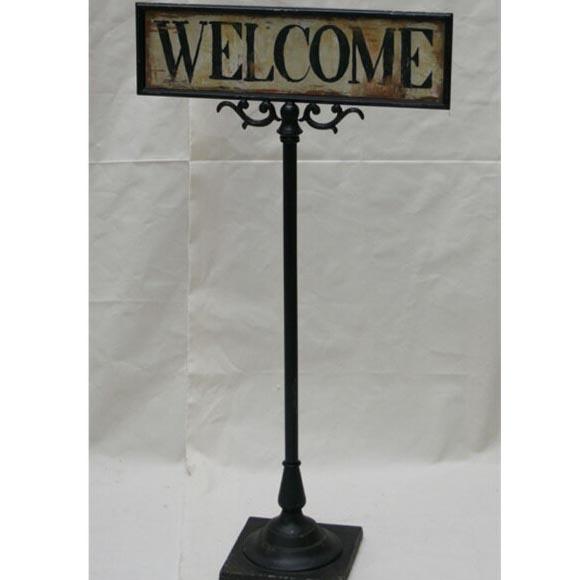 送料無料 送料込 GARAGE WELCOME STAND サインプレート WELCOME アンティーク 看板