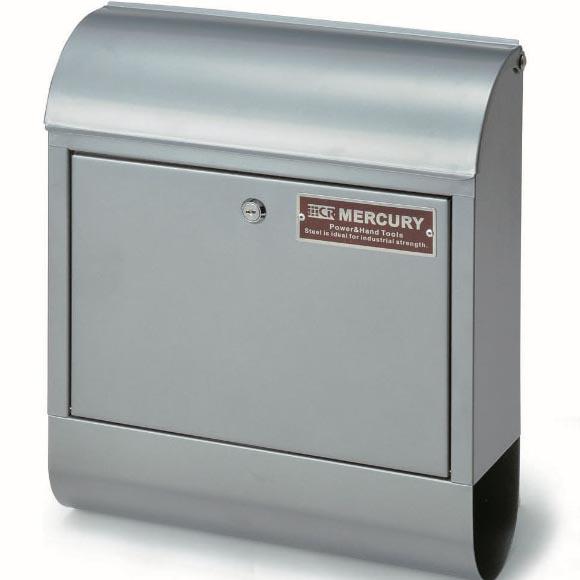シンプル マーキュリー メールボックス シルバー 郵便ポスト 郵便受け 鍵付き メールボックス