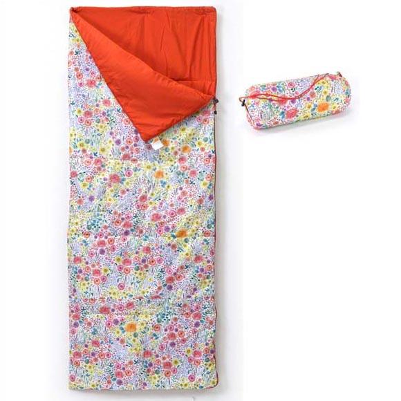 FLOWER シュラフ 寝袋 コンパクト 封筒型 洗える キャンプ おしゃれ かわいい フラワー