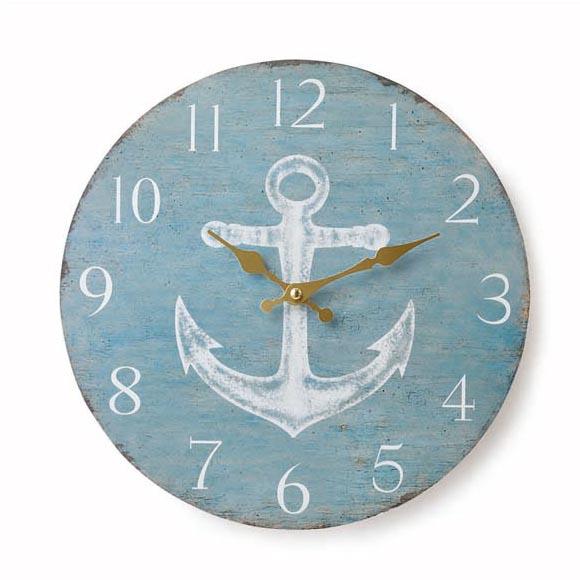 アンティーク風置時計 オールドルック 送料無料でお届けします ウォールクロック アンカー ブルー 時計 新品■送料無料■ マリン ナチュラル 掛け時計