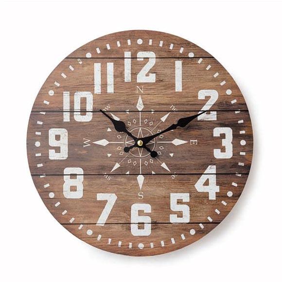 アンティーク風置時計 超激安 オールドルック ウォールクロック コンパス 掛け時計 時計 マリン SALE ナチュラル