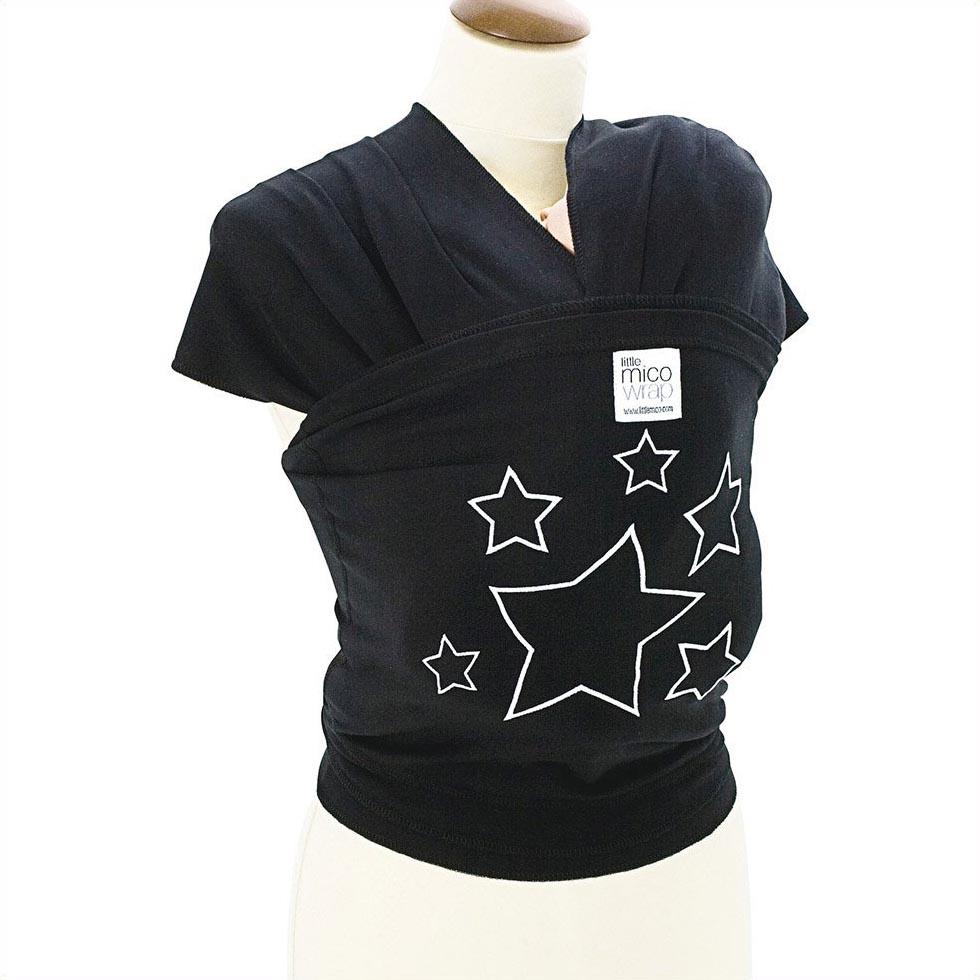 【送料無料】WRAP BLACK W/SV STARS 抱っこひも スリング ラップキャリー 新生児 ベビー 赤ちゃん ギフト 出産祝い ブラック 黒