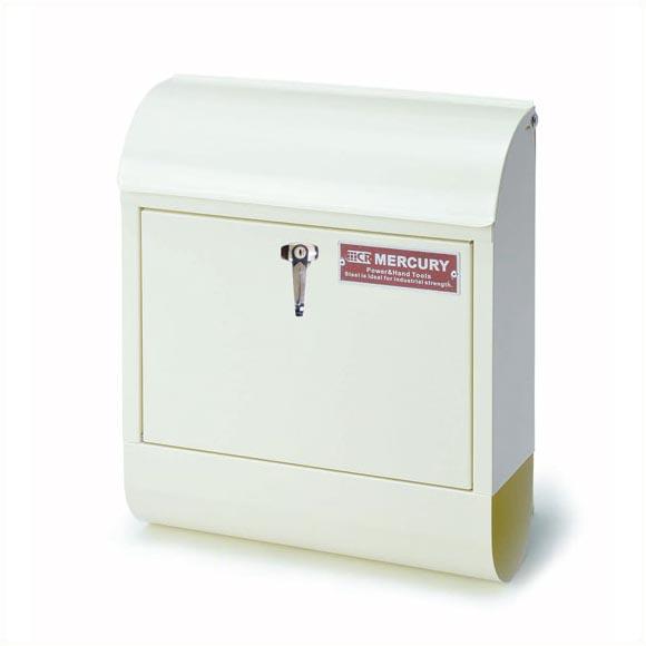 【送料無料】マーキュリー ハンドルロック メールボックス アイボリー MERCURY 郵便ポスト 壁付け アメリカン スチール 郵便受け アンティーク メールボックス