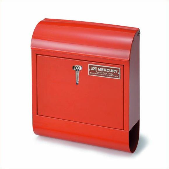 【送料無料】マーキュリー ハンドルロック メールボックス レッド MERCURY 郵便ポスト 壁付け アメリカン スチール 郵便受け アンティーク メールボックス