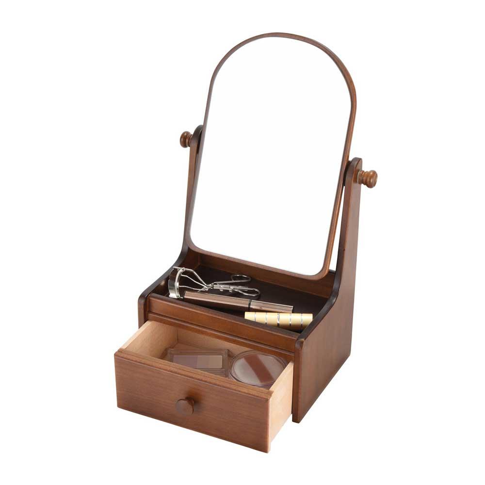 【送料無料】ミニドレッサー ミニドレッサー 卓上 ドレッサー コンパクト メイクボックス 鏡付き 卓上 鏡台 卓上ミラー