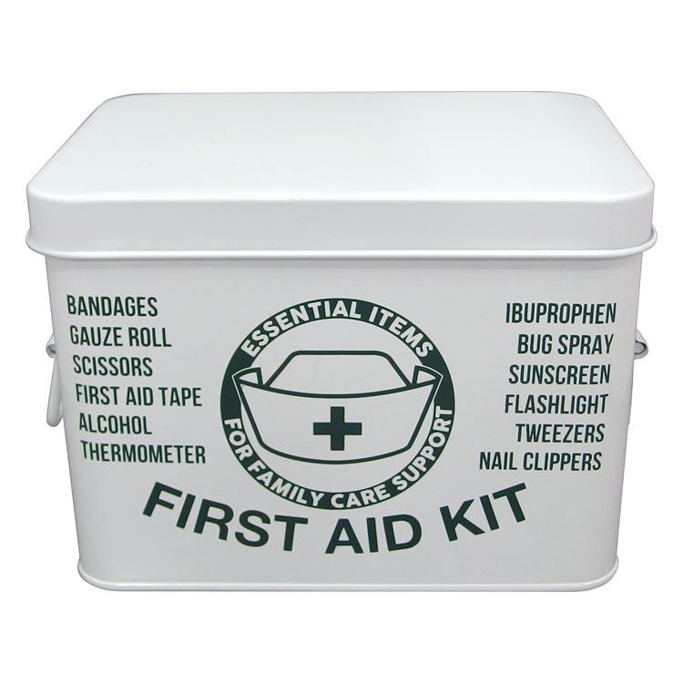 ファーストエイドボックス L グリーン 救急箱 おしゃれ 薬 ケース 防災 救急ボックス スチール 応急手当