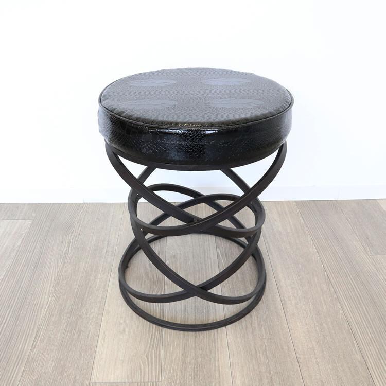 【送料込】モダンテイスト スツール 【メーカー直送品】 スツール 丸椅子 黒 ブラック アンティーク アイアン