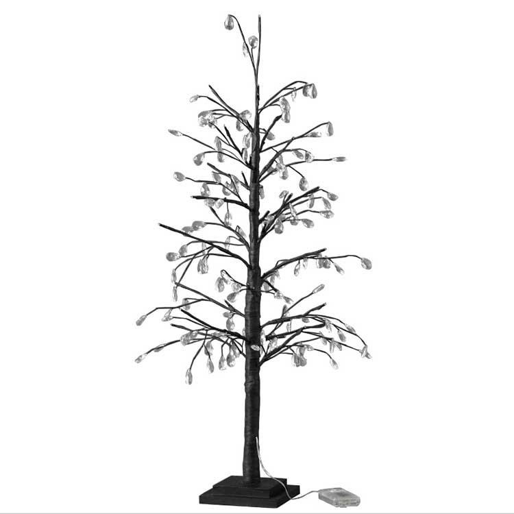 【全品10%OFFクーポン配布中!21日20:00~28日1:59 まで】【送料無料】クリスマス LEDブランチツリー クリスタル ブラック Lサイズ クリスマスツリー led ライト おしゃれ 90cm usb アンティーク