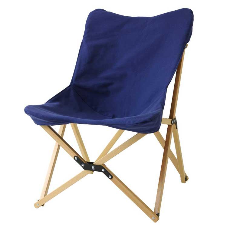 【送料無料】バカンス キャンバスフォールディングウッドチェア ネイビー チェア チェアー アウトドア 折りたたみチェア 持ち運び 椅子 紺 ネイビー