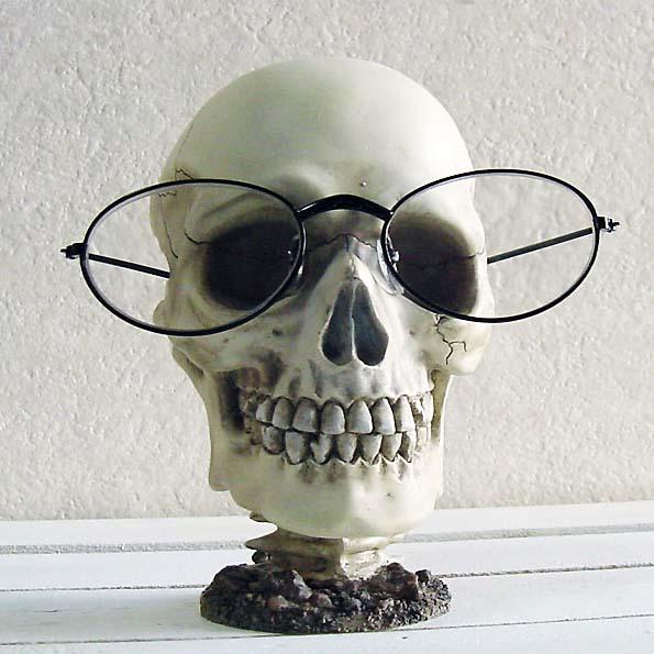 おもしろ雑貨 スカル ガイコツ ドクロのユニークな眼鏡スタンド 正規販売店 メガネスタンド スカルヘッド 大注目 あす楽