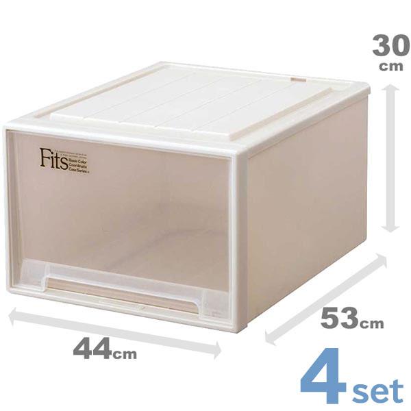収納ケース 収納ボックス 4個セット Fits フィッツケース ワイドL-53 クローゼット ( 衣装ケース収納 天馬 Fit's プラスチック 引き出し キャスター取付可 日本製 国産 )