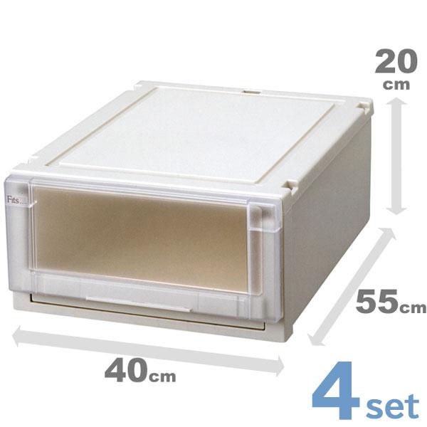 収納ケース 収納ボックス 4個セット Fits フィッツユニットケース 4020 ( 衣装ケース 天馬 Fit's 引き出し 丈夫 頑丈 キャスター取付可 日本製 国産 積み重ね 高級 収納box )