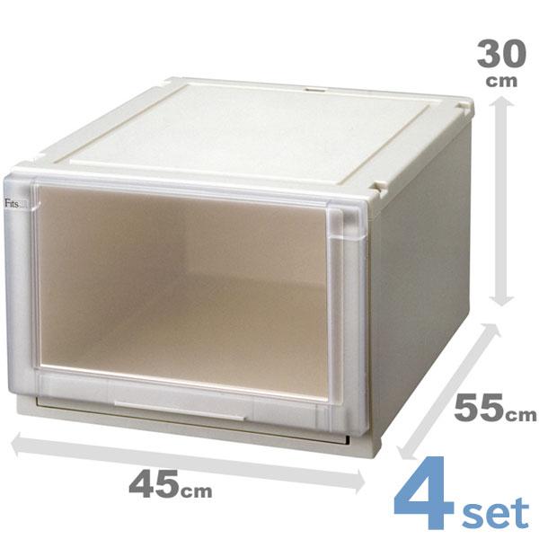 収納ケース 収納ボックス 4個セット Fits フィッツユニットケース 4530 ( 衣装ケース 天馬 Fit's 引き出し 丈夫 頑丈 キャスター取付可 日本製 国産 積み重ね 高級 収納box )