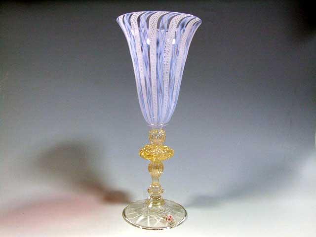 ベネチアンガラス 装飾脚ワイングラスフルート レースライトブルー