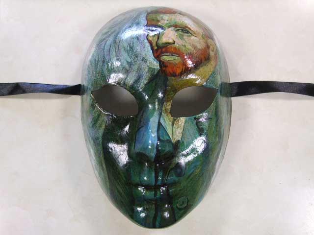 【ベネチア 仮面】 手描き仮面アート【模写 ゴッホ36才の自画像】 グリーン