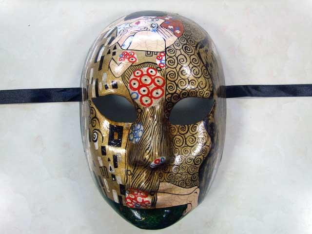 【ベネチア 仮面】 手描き仮面アート【模写 クリムト キッス】