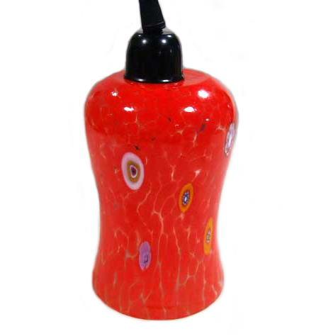 【送料無料】ベネチアンガラス製ペンダント照明(吊下げタイプ ソケット日本仕様加工済み)チューリッパーノ レッド
