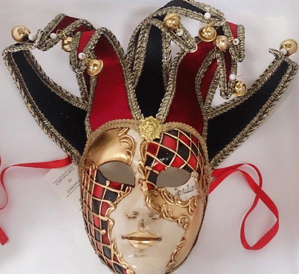 ベネチアのマスケラ 仮面 ジョリーチェス ブラック・レッド