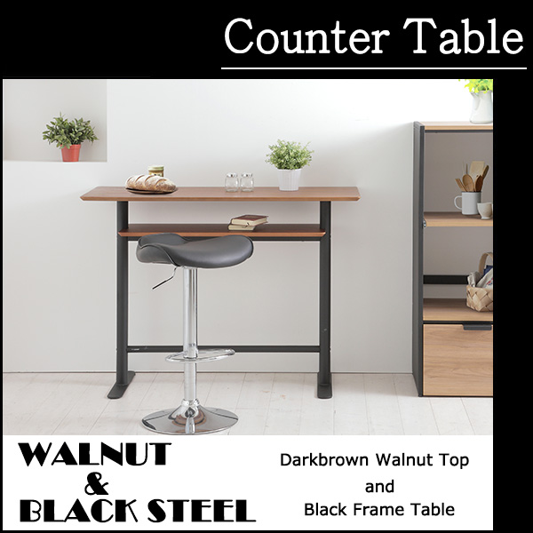 送料無料 ウォールナットとブラックスチールを使用したミッドセンチュリー調のハイテーブル カウンターテーブル バーテーブル カフェテーブル コーヒーテーブル