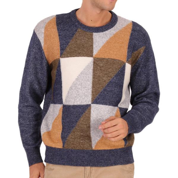 アルパカ混 インターシャ クルーネック セーター 【軽い 暖かい 柔らかい WarmMAX (ウォームマックス) セーター 7ゲージ】 652580