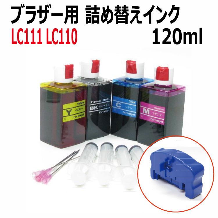 ブラザー(LC111/LC110)シリーズ 詰め替えインク+ICチップリセッター (120mlx4色)セット 対応 空きカートリッジにつめかえるタイプ