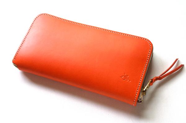 革蛸謹製ラウンドジップウォレットTYPE-U- オレンジ