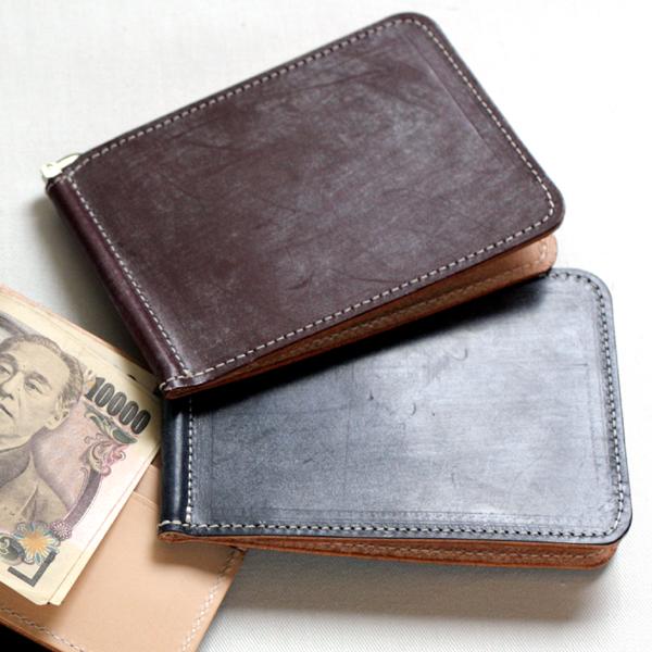 ネコポス応商品 輸入 ネーム入れ 財布 5☆好評 札バサミ L型 イギリスブライドルレザーマネークリップ 薄型 日本製