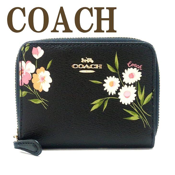 コーチ 財布 COACH 二つ折り 財布 レディース 花柄 ブラック 73017IMDB9 ブランド 人気