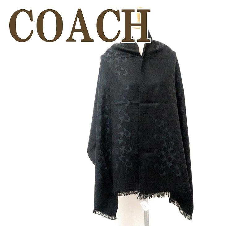コーチ COACH ストール レディース スカーフ シルク混 大判 ブラック黒 シグネチャー 76394BKBK ブランド 人気