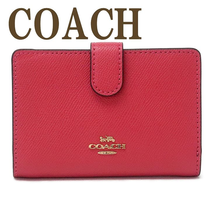 コーチ COACH 財布 レディース 二つ折り財布 ロゴ ピンク レザー 11484IMPOP ブランド 人気