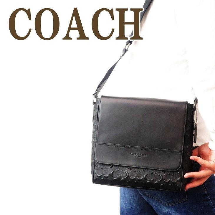 コーチ COACH バッグ メンズ ショルダーバッグ 斜め掛け ブラック 黒 シグネチャー レザー 73340QBBK ブランド 人気