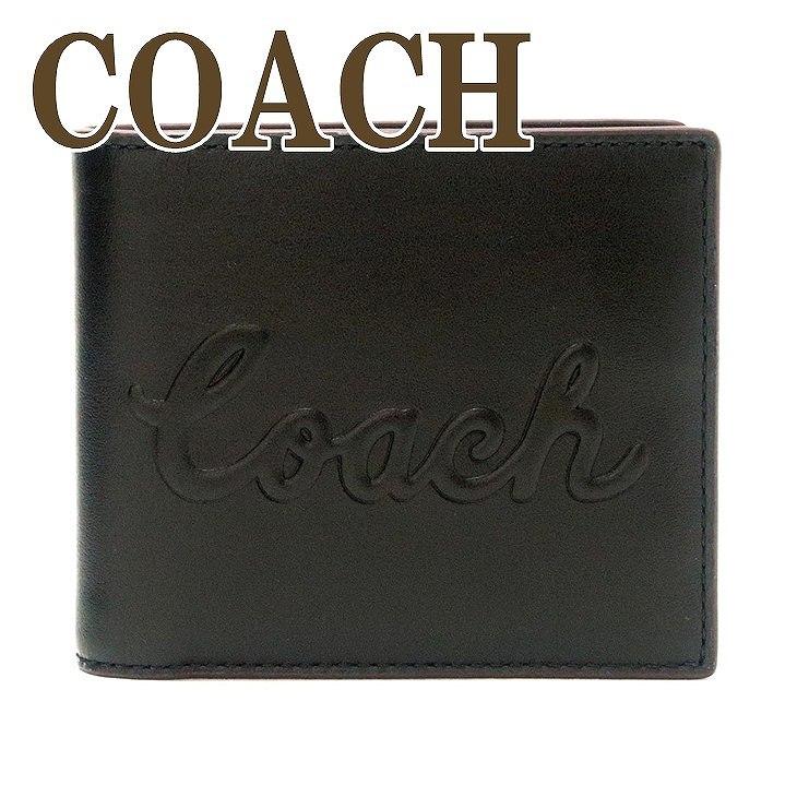 コーチ COACH 財布 メンズ 二つ折り財布 カードケース ブラック黒 ロゴ 76875QBBK ブランド 人気