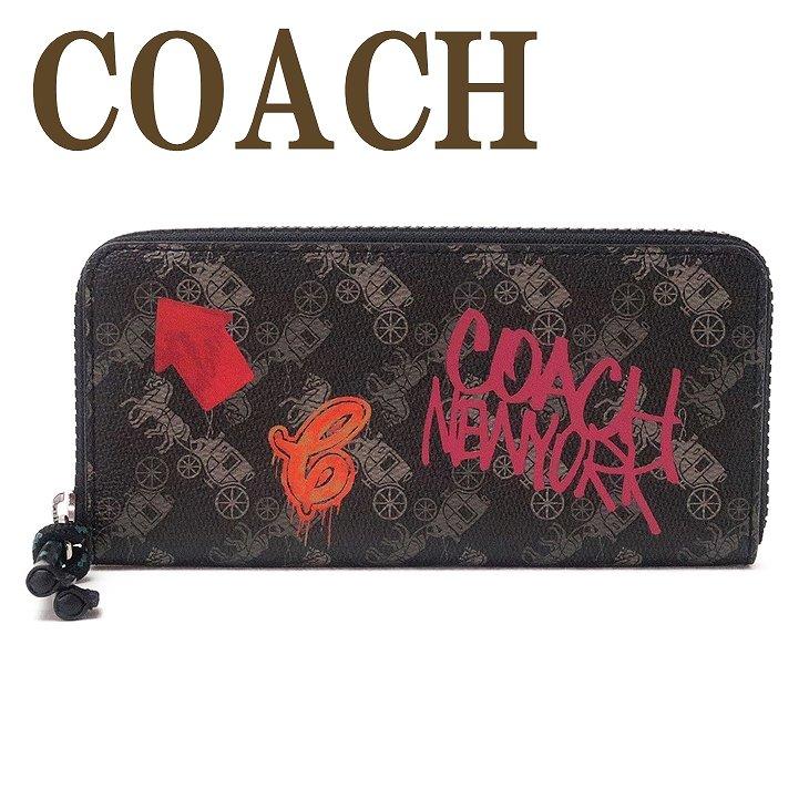 コーチ COACH 財布 レディース 長財布 ラウンドファスナー ホースキャリッジ ブラック 黒 ピンク 馬車柄 ロゴ レザー 87927SVPI9 ブランド 人気