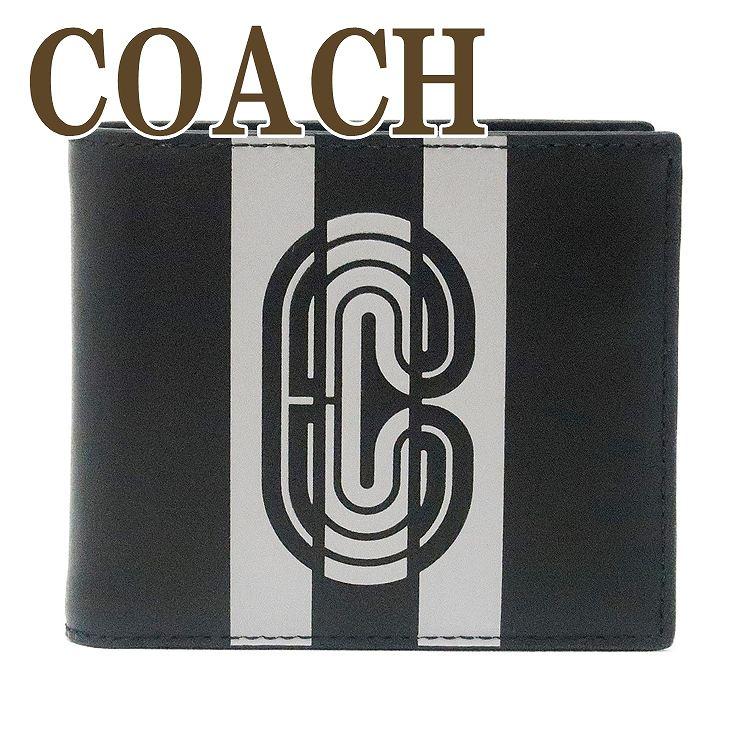 コーチ COACH 財布 メンズ 二つ折り財布 カードケース ストライプ ロゴ 91271QBQ6S ブランド 人気