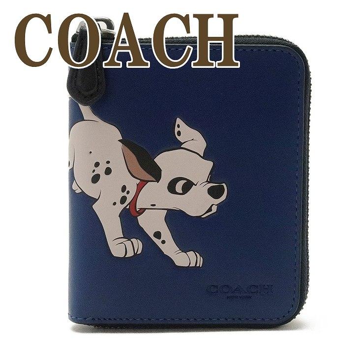 コーチ COACH 財布 メンズ 二つ折り財布 ラウンドファスナー ディズニー 101匹わんちゃん レザー 91652QBOMH ブランド 人気
