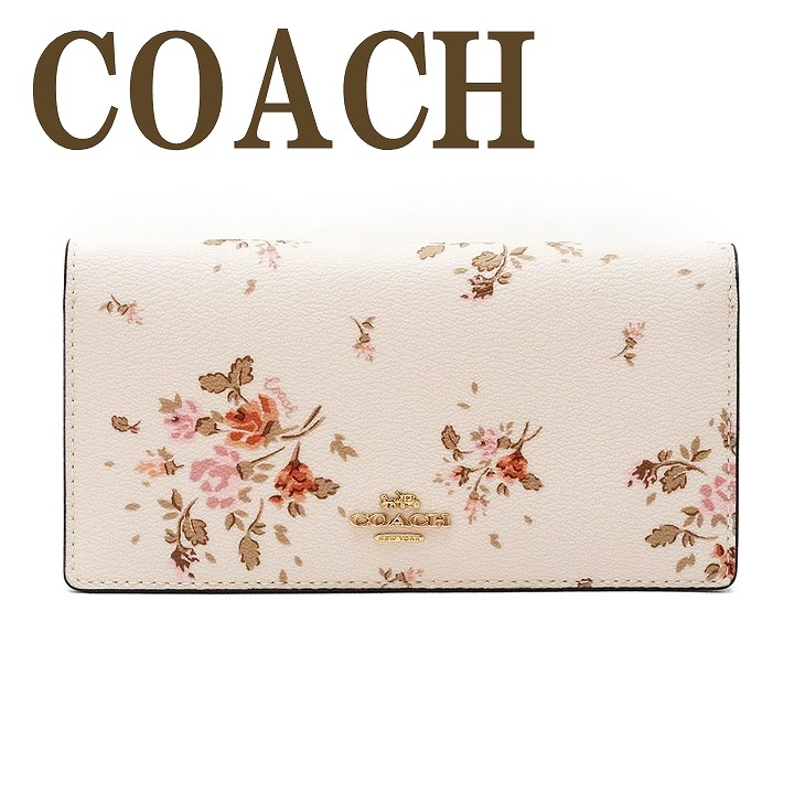 コーチ COACH 財布 レディース 長財布 二つ折り カードケース 花柄 ピンク レザー 91746IMCAH ブランド 人気