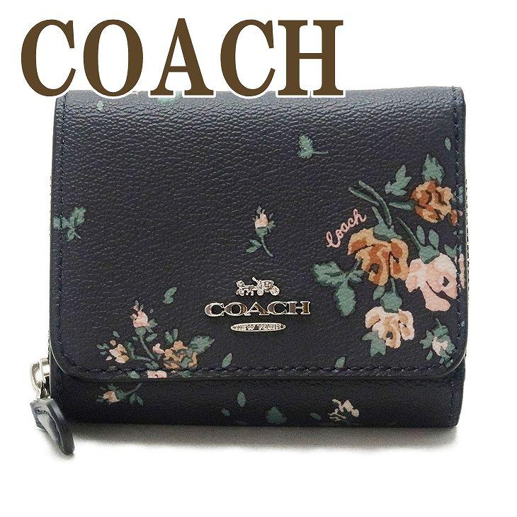 コーチ COACH 財布 レディース 三つ折り財布 ミニ 財布 レディース フローラル 花柄 ブラック 黒 ピンク 91752SVF23 ブランド 人気