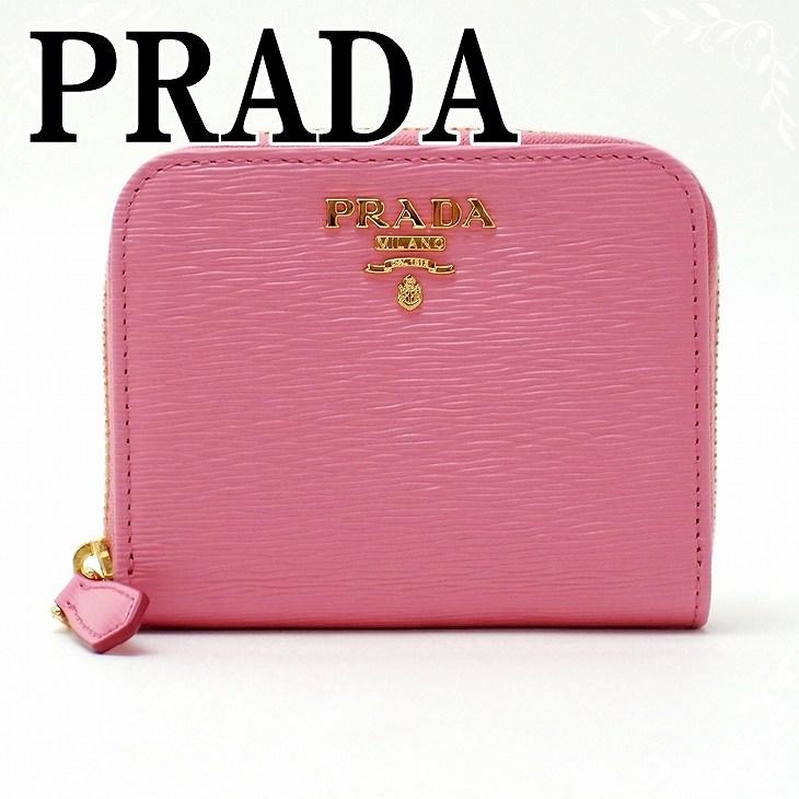 【イタリア買付】プラダ 財布 PRADA 1MM268-2EZZ-F0410 GERANIO コインケース 財布 小銭入れ ピンク ラウンドファスナー