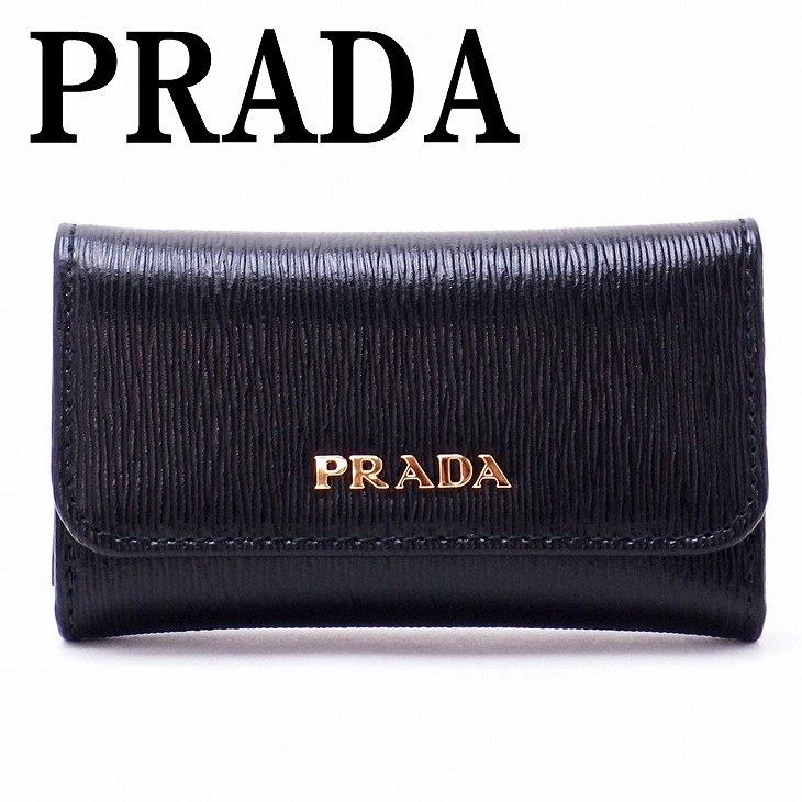 【イタリア買付】プラダ PRADA キーケース 6連 VITELLO MOVE NERO 黒 LACCA レッド系 レディース 1PG222-2BNC-F0TMH ブランド 人気