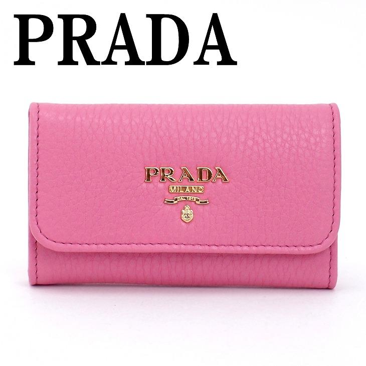 【イタリア買付】プラダ キーケース PRADA 1PG222-2E3A-F0638 VITELLO GRAIN キーリング ピンク 6連 レザー