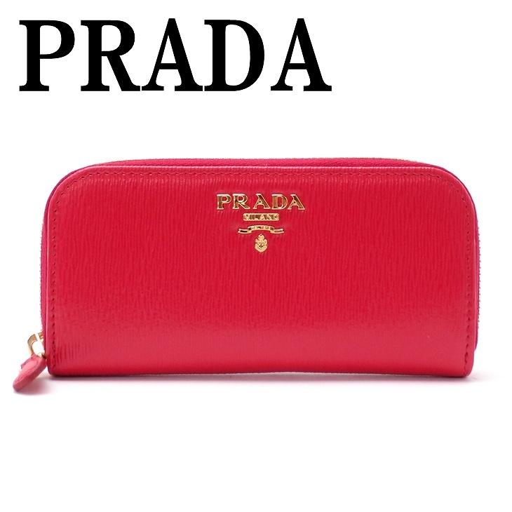 プラダ PRADA キーケース ラウンドファスナー 6連 LACCA レッド 1PG604-2EZZ-F0RGA ブランド 人気