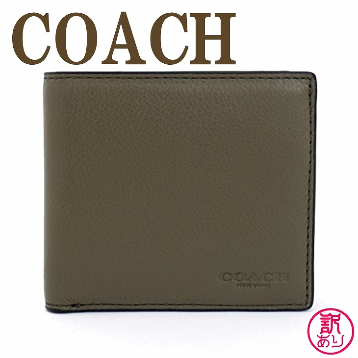 【訳あり】コーチ COACH 財布 メンズ 二つ折り財布 レザー スポーツ カーフ 75003B75-W1 ブランド 人気
