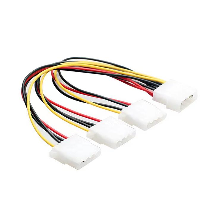 ペリフェラル4pin電源分岐ケーブル 4ピン電源コネクタ3分配 送料無料 PCボックス内配線 使い勝手の良い 卓抜 → 3分配 4ピン電源コネクタ