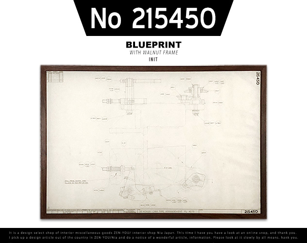 【No 215450】VINTAGE BLUEPRINT FRAME / ビンテージ ブループリント フレーム INIT / イニット 設計図 1970年代 W104cm×H71cm×D2cm ウォールナットフレーム 什器