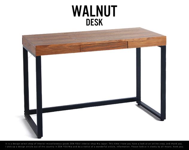 Walnut Desk / ウォールナット デスク ウォールナット ミッドセンチュリー PCデスク パソコンデスク 書斎 机 emo anthem エモ アンセム wood 木 ブラウン 引き出し付き