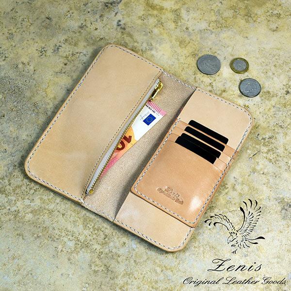 長財布 本革 平財布 レディース ヌメ革 国産 手縫い 小銭入れあり Zenis ゼニス N-0171【送料無料】【あす楽】