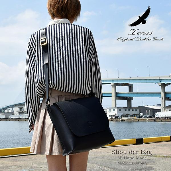 ショルダーバック レディース レザー 本革 メンズ 日本製 手縫い ショルダーバック メッセンジャーバック A4ファイル対応 Mサイズ Zenis ゼニス B-0138【送料無料】