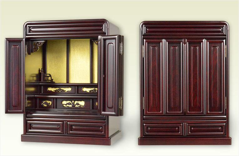 机や棚の上に置いてお祭りできる小さなサイズの仏壇です 仏具も付いています 紫檀調仏壇 新作製品 世界最高品質人気 仏具込み 商店
