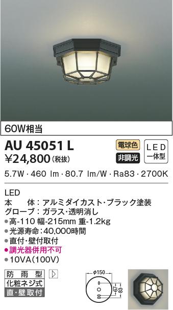 【LEDアウトドアライト】【電球色 on-offタイプ】AU45051L